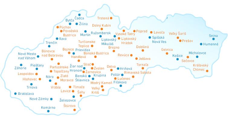 Mapa siete portálov miest Slovenska